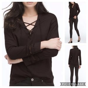 AG NWT Bliss Lace Inset Shirt In Black